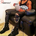 Kanye West Yeezus Individual Design Chain Zipper Slim Fitness PU Men Biker Pants Hiphop Street Style Fashion Men Brand Trousers