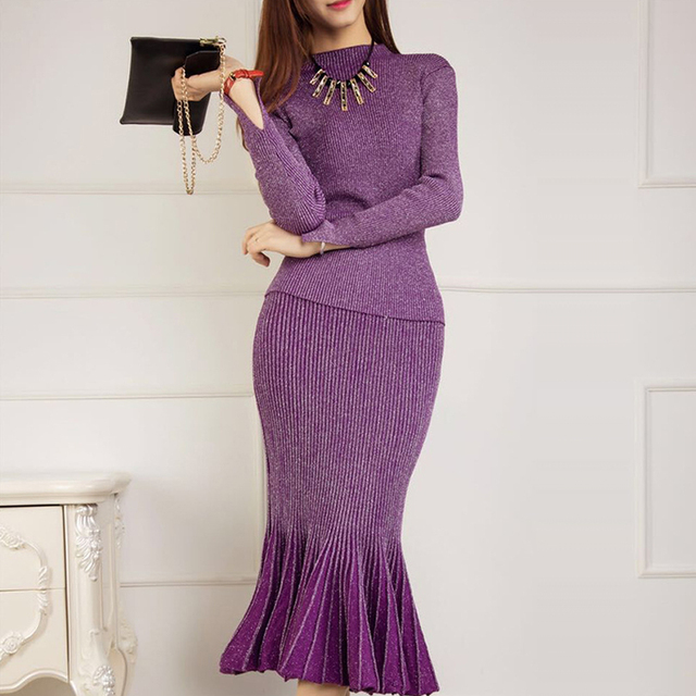 Sweater+Skirt Trendy Women's Shining Sweater Skirt Knit Suits Sexy Package Hip Fish Tail Long Skirt Elegant Lady Dress Set SY875