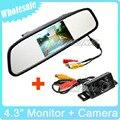 """2 em 1 Preço de Atacado retrovisor Do Carro 4.3 """"polegadas TFT LCD Teto Do Espelho Monitor + Backup Retrovisor Câmeras de Visão Noturna À Prova D' Água"""