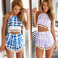 Ctater 2017 Summer Women Sets Loose Sleeveless Sexy Halter Top + Shorts Pants 2 Piece Print Tassel Women Suits Clothings
