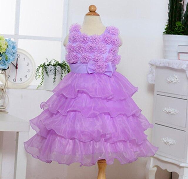 Pink White Lavander Purple Chiffon Soft Fluffy Fairy Wedding Dress For Baby Girl Princess Flower Dresses