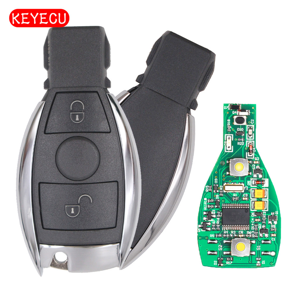Keyecu Smart Key 2 Buttons 315MHz 433MHz for Mercedes Benz Auto Remote Key Support NEC And BGA 2000+ Year new updating smart key for benz 3 button 433mhz 315mhz easy to create a new key for mecerdes good quality