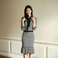Autumn Knitted Cotton Striped Slim Waist Rufles Sweater Dresses Women Hip Packaged Black White Winter Soft