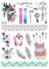 2018 Latest Boho Beauty Metallic Gold Silver Flash Tattoo Feather Dreamcatcher Owl Mandala Flower Temporary Tattoos