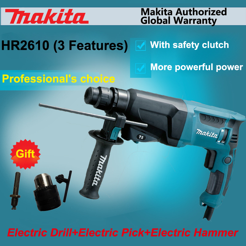 US $322 3 5% OFF|Japan Makita HR2610 Impact Drill+Electric Hamme+Electric  Pick 3 function Power Tools Powerful 800W Motor 4,600ipm 1,200rpm-in Tool