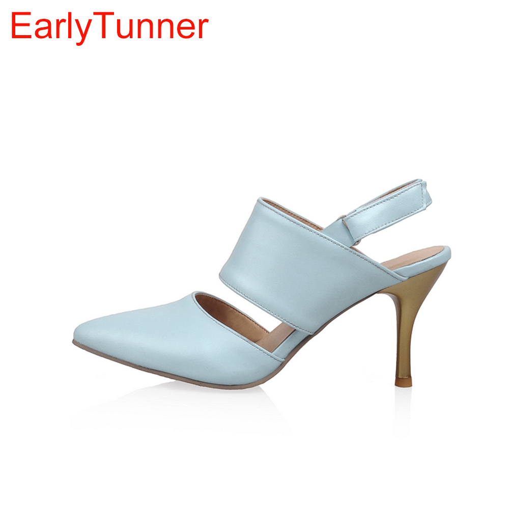 Brand New Hot Sexy Women Sandals Black light Blue Apricot Fashion Pumps Ladies High Heel Shoes EM331 Plus Big Size 4 10 12 43 47 hot fashion естественный цвет 10 12 14 16