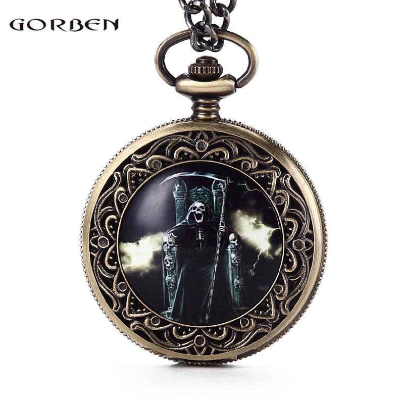 Retro Gorben God of Death Hold a Sickle Pocket Watch Underworld King Fashion Mens Womens Fob Chain Bronze Quartz Fashion GO61