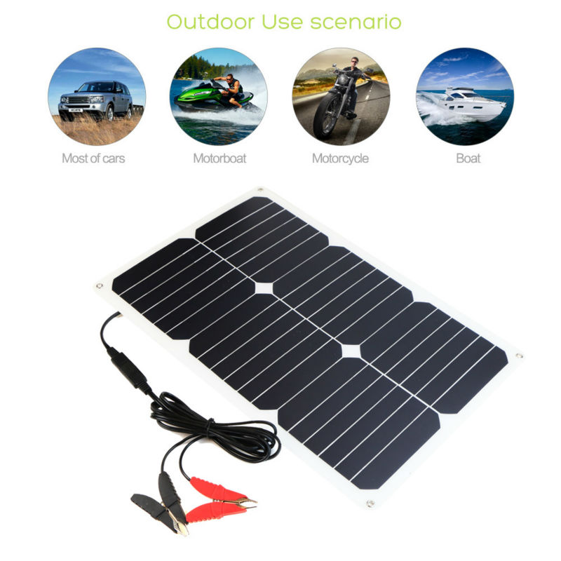 ФОТО 12V 18W Portable Sunpower Solar Charger Solar Car Battery Maintainer for Boat Vehicle Motorcycle Yacht 12V Battery.