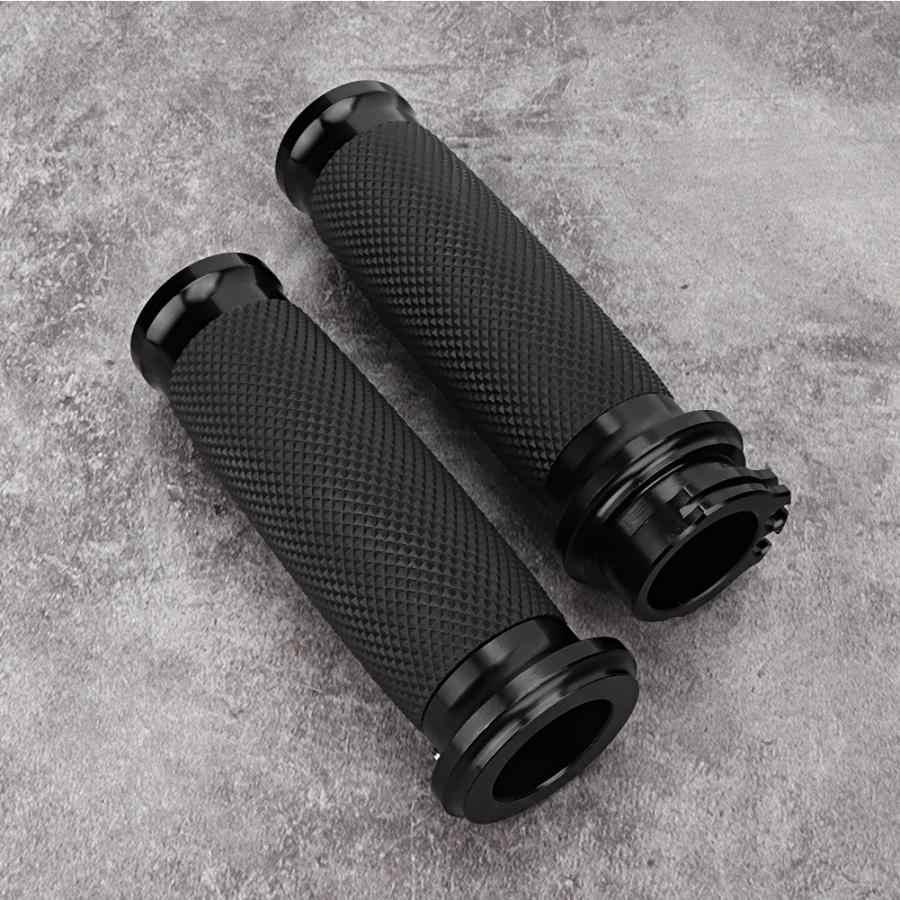 Handlebar Grips ,1 Pair 25mm Motorcycle Handlebar Grip,Aluminum+Rubber Anti-slip Handlebar Grip Cover for Universal Motorcyce Handlebar Black