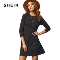 SHEIN Grey Crew Neck Casual Basic Sweater Dress 2017 Fashion Autumn Winter Women S Long Sleeve