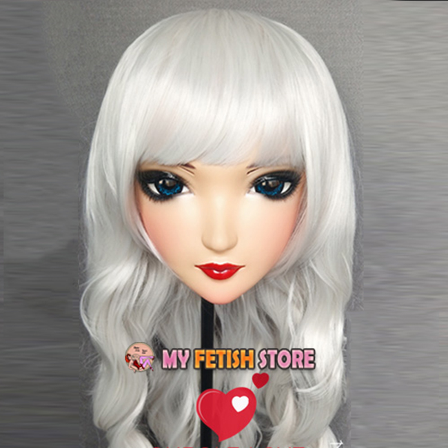 zi-06 female Sweet Girl Resin Half Head Kigurumi Mask With Bjd Eyes Cosplay Japanese Anime Role Lolita Mask Crossdress Doll Shop For Cheap