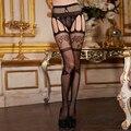Essencial roupa de dormir Sexy Womens Lingerie net Lace Top Garter Belt coxa meia calça meias elásticas acrílico