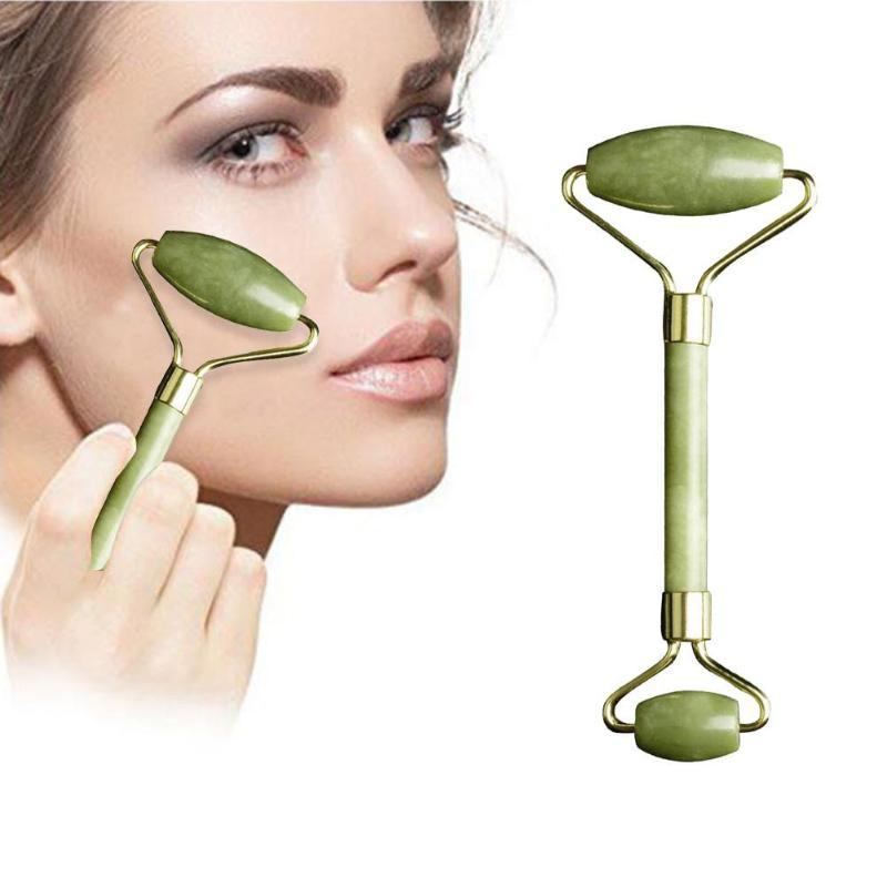 2pcs Natural Jade Massage Facial Roller Guasha Board Face Jade Stone Roller Beauty Massage Tool Face Lift Massager Skin Care