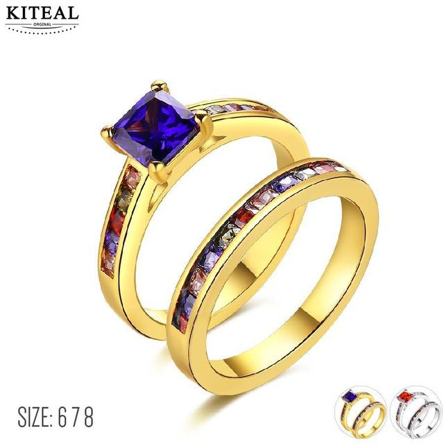 Kiteal Beautiful Crystal Wedding Rings Sets Rainbow Color With Zircon Austrian Stainless Steel