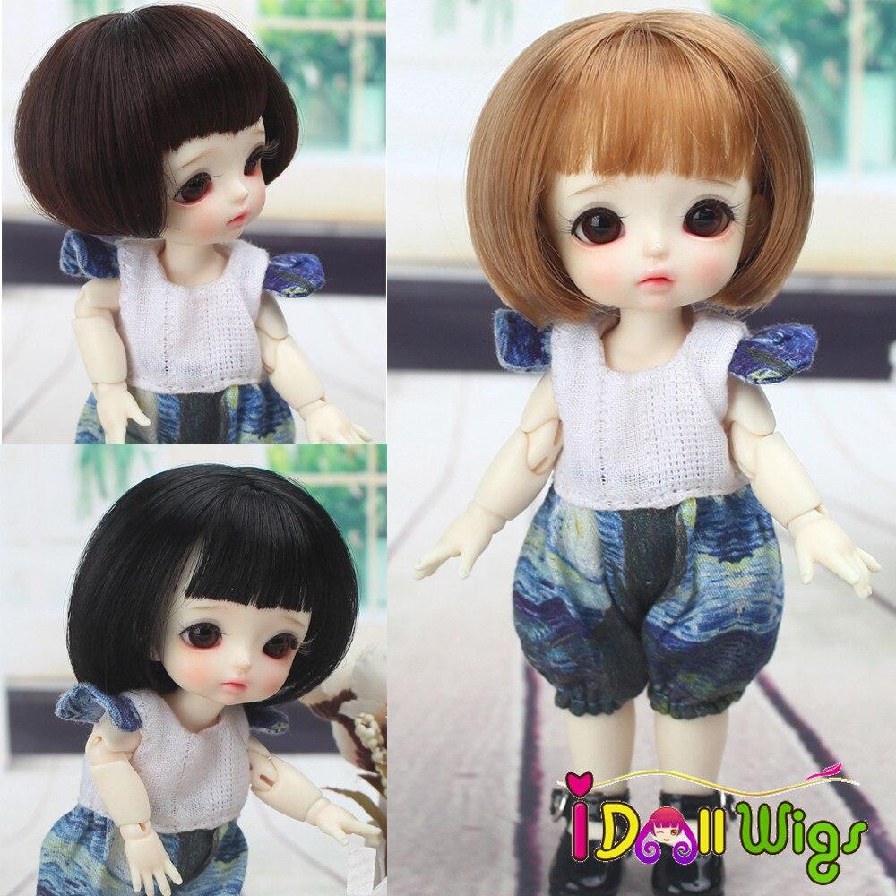 High Quality Doll Wigs Black Brown Bob Hair For 1/8 BJD Doll