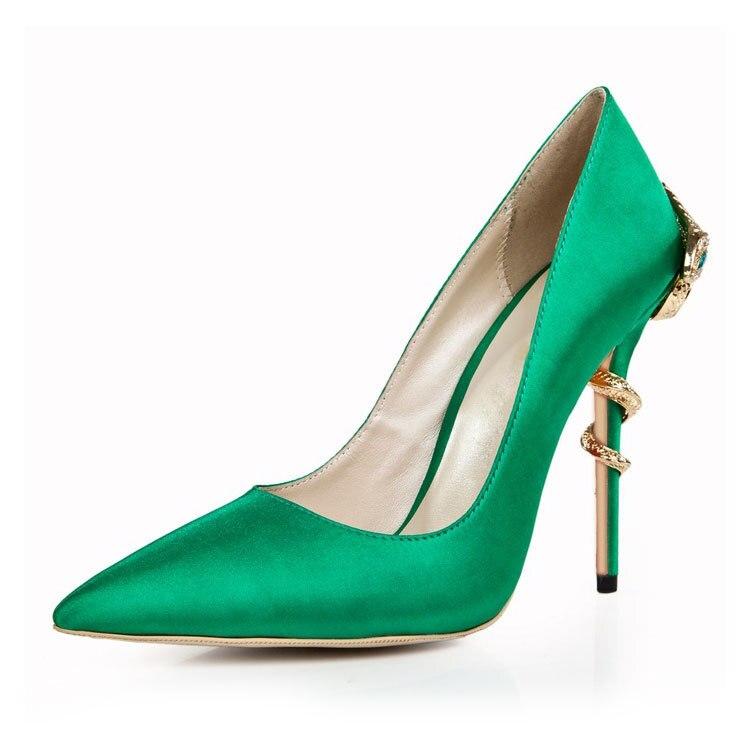 Chaussures Casual Peu À Femmes Talons bouche Talons Cuir Verni En De Mode Hauts Haute Vert Forme Banquet Sexy Avec Pointu Profonde nrYxIwOYtq