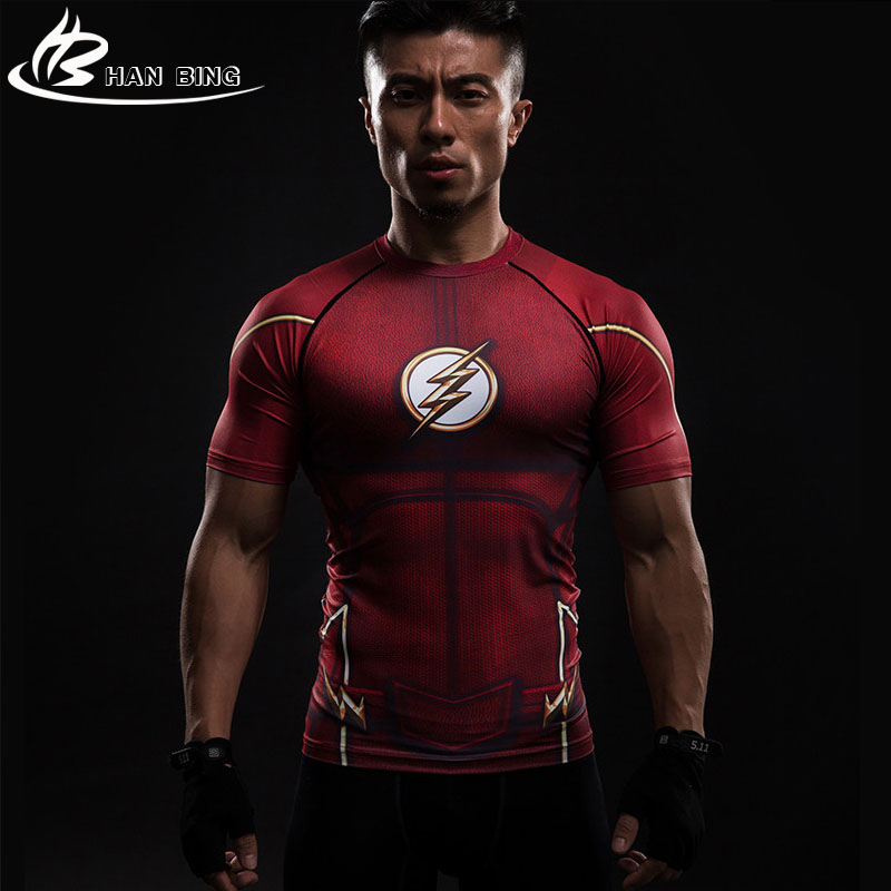 Tights Clothing Compression Shirt Flash 3 D Printed T-shirts Men Short Sleeve Flash Cosplay Costume Quick Dry Fitness Tops Male