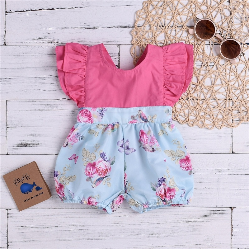 0 2Y baby girls summer ruffle sleeve daily jumpsuit bodysuit in Rompers from Mother Kids
