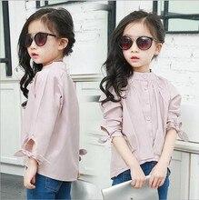 2016 Kids Long Sleeve Shirts Blouses Girls Fashion Casual Loose Pure Color Irregular Shirts Kids cute girl shirt blouse