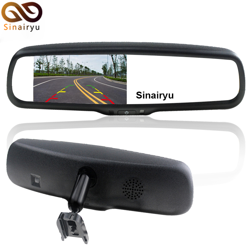 Car 4.3 Inch TFT LCD Color Rear View Rearview Mirror Monitor Display with Iron Block on #1 Bracket Mount 4 3 inch display tft color lcd monitor cctv camera monitor 2 av input 1 way for rear view