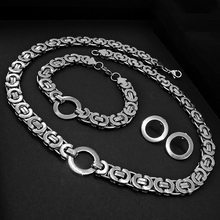 AMUMIU Stainless Steel Jewelry Sets For Men/Women 11mm Long Hip Hop Byzantine Box Chain Set Gold Color Solid  Hot Sale JS187