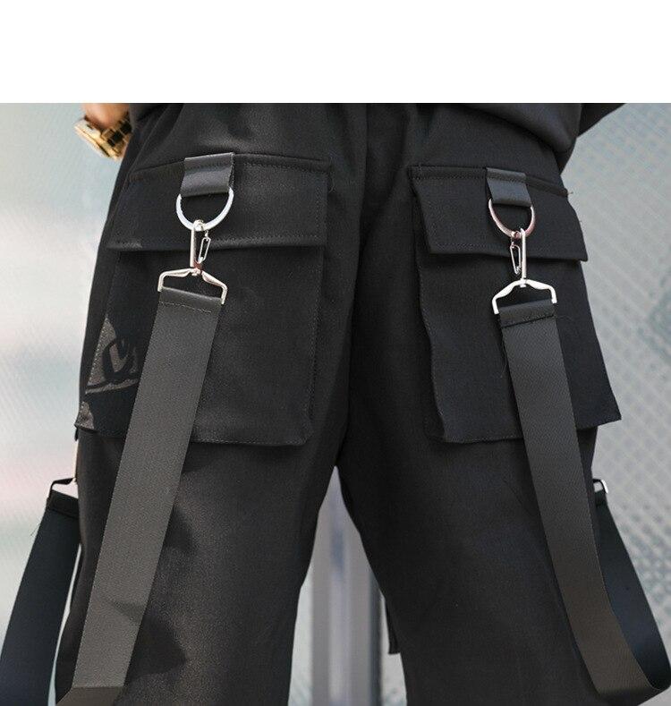 Multi poche Shorts Danse Conception Hip Taille Punk Élastique Homme Occasionnel Rue Harem Court Hop Pantalon Joggers Hommes qPwT7A4