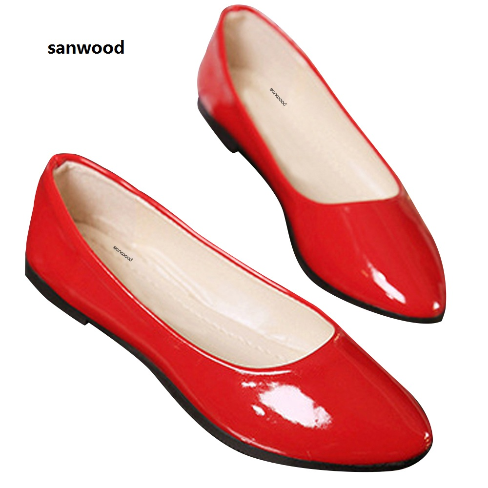 SANWOOD Women Flat Shoes Faux Patent Leather Pointed