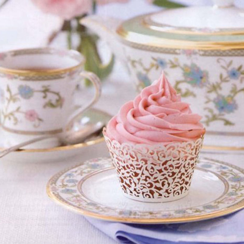 50PCS Pink Vine Lace Cup Cake Box White Cut Paper Wedding Cupcake Liner Baking Cup Wrappers Birthday Party Favor Decorations