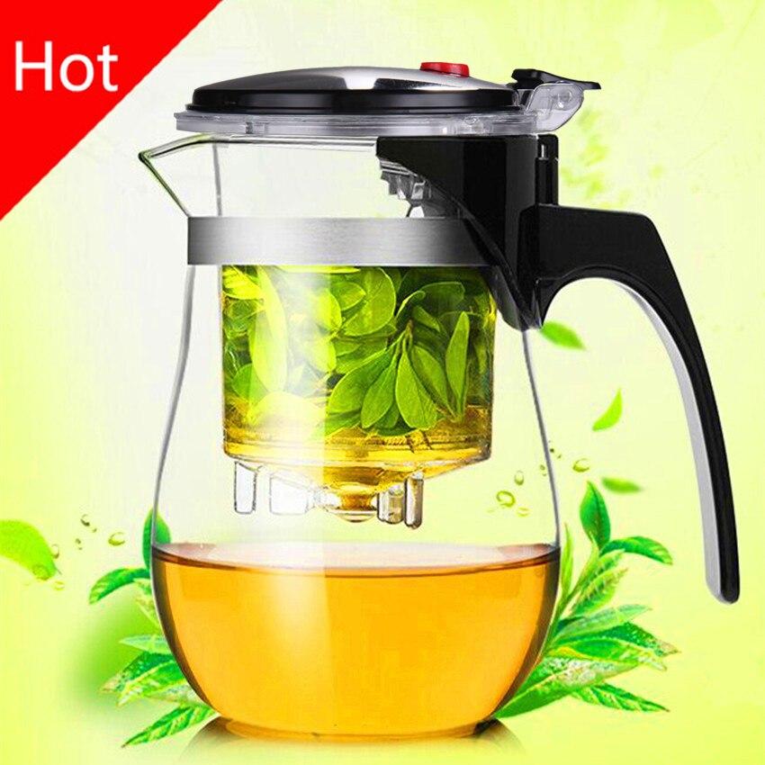 Hot sale 500ml Heat Resistant Glass Tea Pot Flower Tea Set Puer kettle Coffee Teapot Convenient