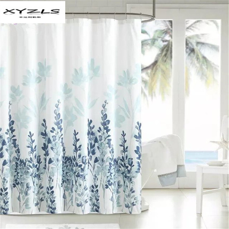 XYZLS Polyester Fabric Shower Curtain Waterproof Home Bathroom Curtains Ink Painting Floral Bath Curtain for the Bathroom