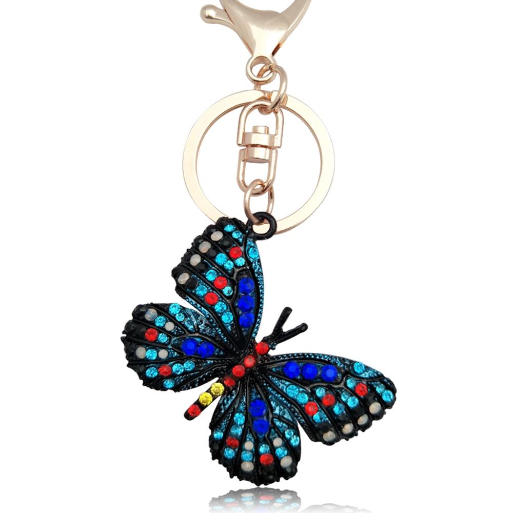 5*3.5CM New Rhinestone Butterfly Keychain Key Cover Charm Women Bag Pendants Car Keyrings Cute Metal Insect Key Chains Holder