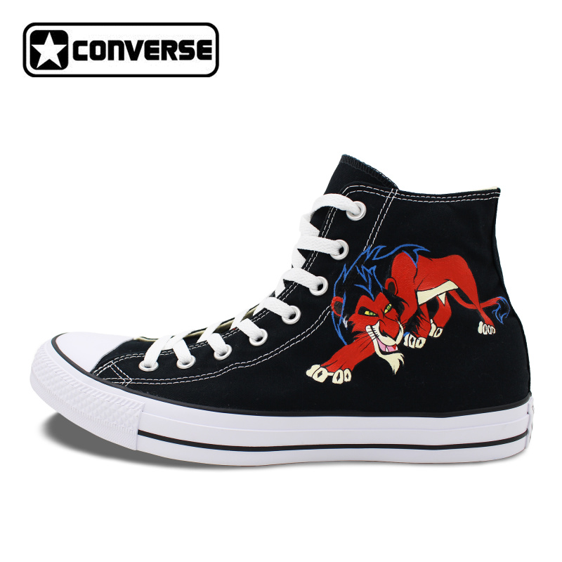 Animal Lion Converse All Star Canvas Shoes Man Woman Custom Design Hand Painted High Top Black Women Men Sneakers