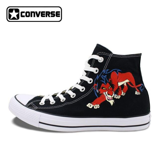 León animal Converse all star lona Zapatos hombre mujer diseño pintado a  mano alto top negro