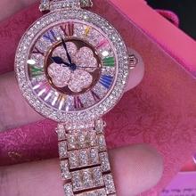 Top Quality Brand Women Rhinestone Watch High-grade Lady Shining Rotation Dress watch Big Diamond Steel strap bracelet Watches
