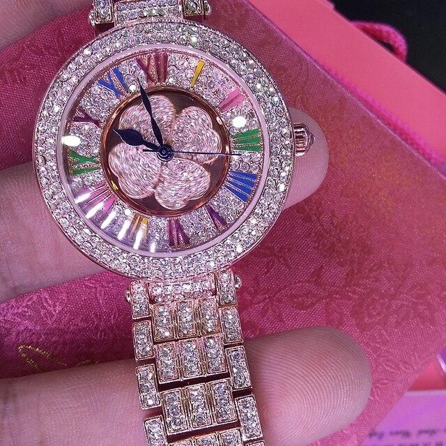 Top Quality Brand Women Rhinestone Watch High-grade Lady Shining Rotation Dress