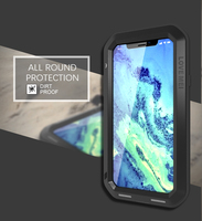 Metal Armor Waterproof Dustproof Shockproof Rugged Full Body Cover for iPhone Xs Max XR X 8 7 Plus 6 6s Plus Outdoor Phone Case