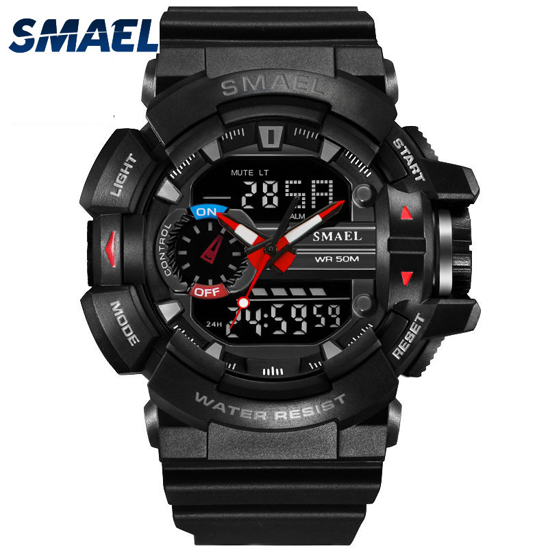 SMAEL Multi-function Dual Display Digital Watch Men S Shock Sports Military Quartz Wristwatches Outdoor Diving Male Watches 2017 asj b005 dual movt men quartz digital watch stopwatch display