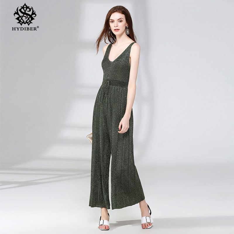 sexy Camisole Jumpsuit 2018 Summer Women Ankle-Length Pants Bodysuits green Solid Fashion Higt Waist Rompers Womens Jumpsuit