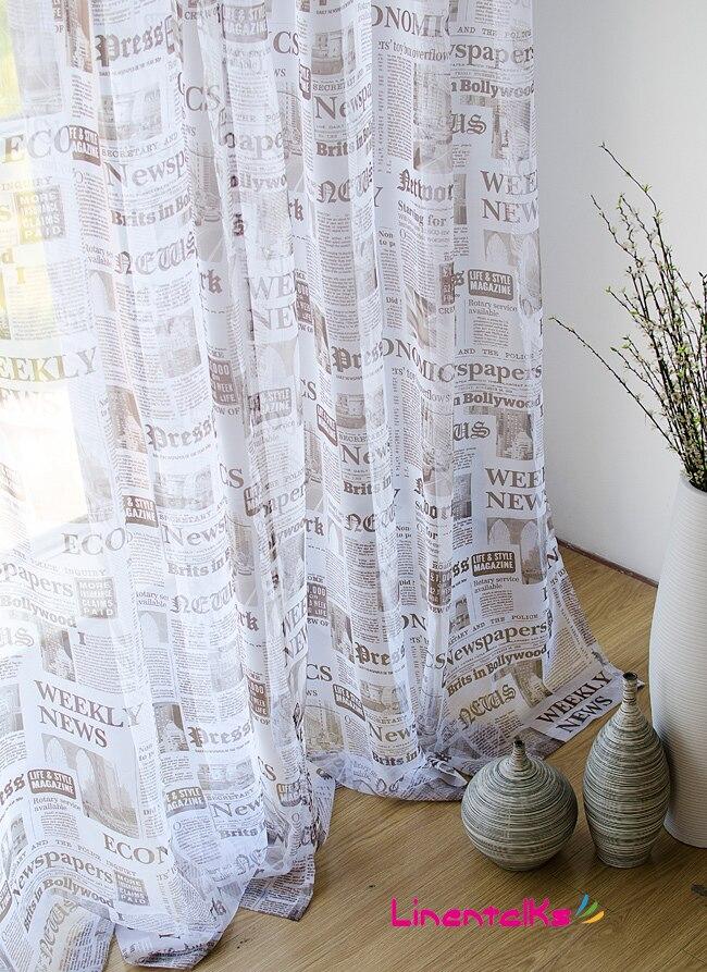 Simple rétro style Anglais Journal tulle rideaux voilage pour salon ...