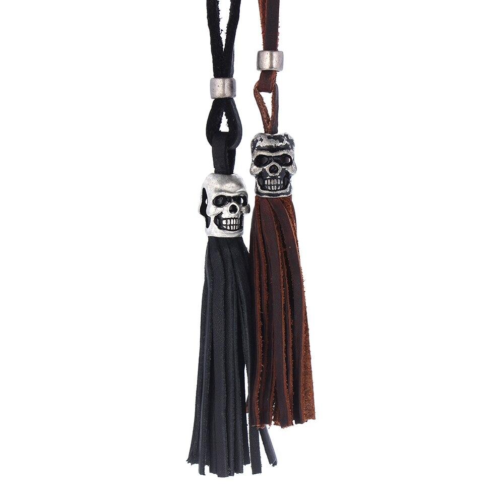 2016 real leather skeleton men long necklace unisex black brown skull pendant necklace for font b