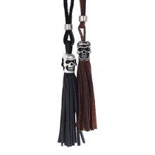 2016 real de couro homens esqueleto longo colar unisex marrom preto crânio colar pingente para as mulheres de todos os jogo de acessórios de jóias