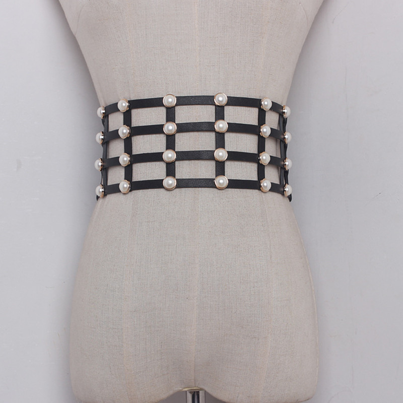 Pearl Mounted PU Leather Wide Corset Belts Waistband Cummerbund For Women Dress Waist Belts