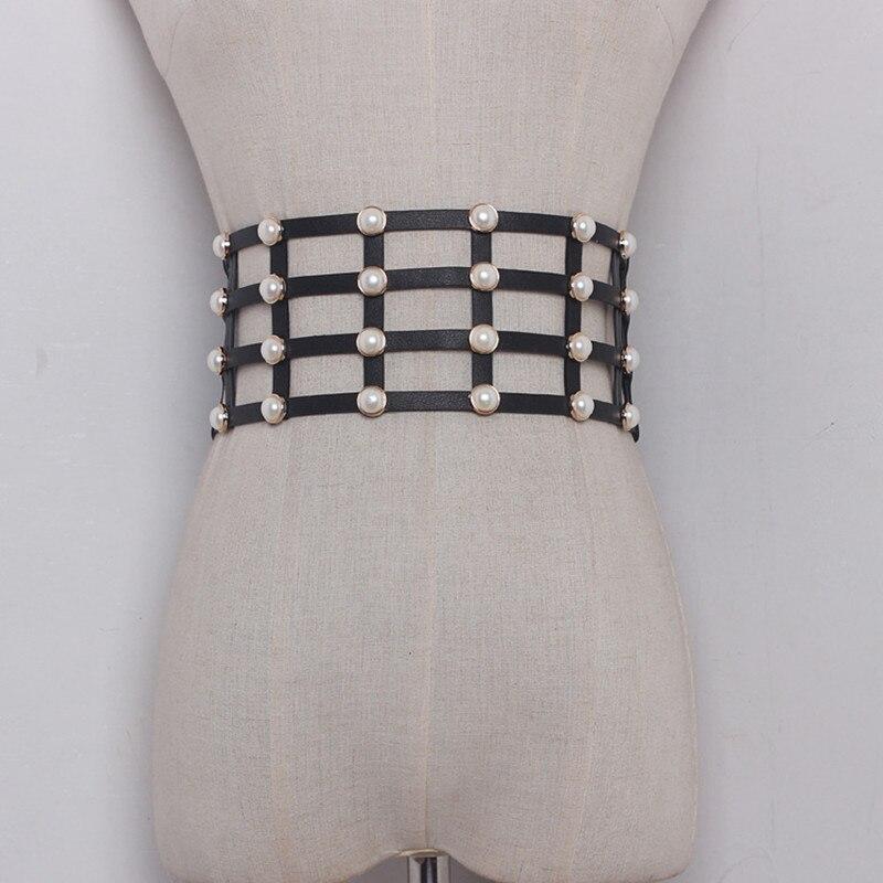 Pearl Mounted PU Leather Wide Corset Belts Waistband Cummerbund For Women Dress Waist Belts