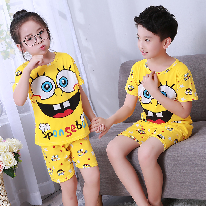 Pajamas Set For Children Summer 2019 Boys Girls Kids Home Clothing Cartoon Short Sleeve Baby Sleepwear Suit Children's Day Gifts(China)