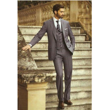 New men suits Dark Gray Groom Tuxedos Office Suit Fit Slim Formal Party Evening Groomsman Men's suits(Jacket+Pants+vest)