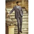 New men suits Dark Gray Groom Tuxedos Office Suit Fit Slim Formal Party Evening Groomsman/Men Suits (Jacket+Pants+vest)