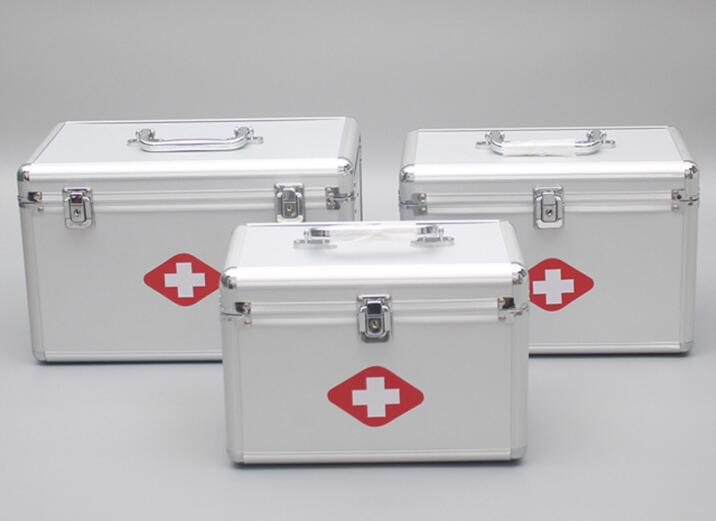 Multifunctional aluminum alloy portable household medical tools double-deck first aid medical kit цена