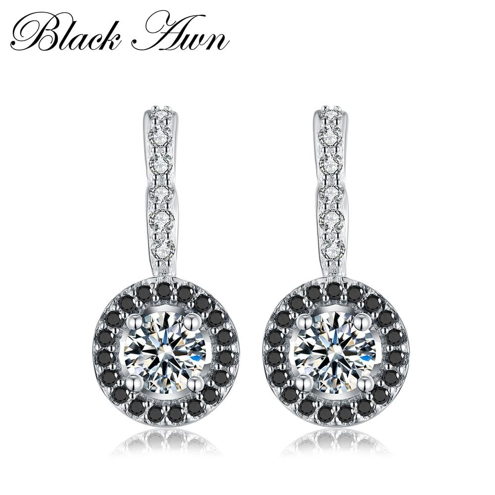 [BLACK AWN] Vintage Äkta 925 Sterling Silver Engagement Hoop - Fina smycken
