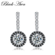 [BLACK AWN] Vintage Genuine 925 Sterling Silver Engagement Hoop Earrings for Women with Black&White Stone Jewelry Bijoux T001