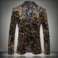 Плюс размер горячие мужчины Цветочный печати костюмы блейзер топ мужской тонкий мода мужская мода личности плоским байки куртка верхняя одежда
